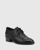Frenton Black Leather Weave Front Block Heel Brogue.