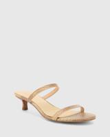 Jay Beige Python Print Leather Low Stiletto Sandal.