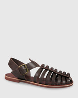 Capulet Chocolate Leather Flat Sandal.