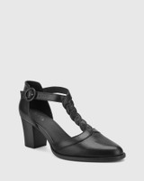 Nedda Black Leather T-Bar Block Heel.