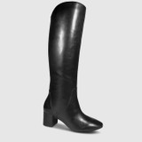Andrei Black Leather Block Heel Knee High Boot.