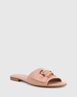 Cate Petal Pink Leather Open Toed Flat Sandal.