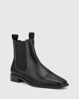 Aleksander Black Leather Elastic Gusset Ankle Boot.