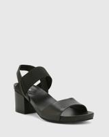 Maddox Black Leather Open Toe Block Heel Sandal.