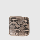 Lars Powder Pink Snake Print Leather Zip Wallet