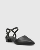 Aletta Black Leather Pointed Toe Block Heel.