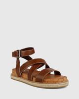 Cierra Dark Brown Leather Flat Sandal.