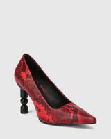 Hanina Red Snake Print Leather Sculptured Heel Pump