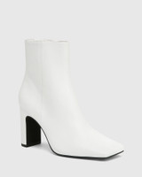 Xena White Leather Block Heel Ankle Boot
