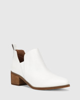 Ita White Leather Block Heel Gusset Ankle Boot