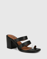Rimmie Black and White Leather Block Heel Sandal