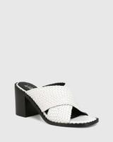 Razzie White Woven Leather Block Heel Sandal
