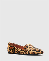 Packham Leopard Print Pony Hair Pointed Toe Loafer