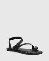 Fisher Black Leather Strap Flat Sandal.