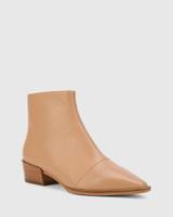 Cade Desert Beige Leather Snib Toe Ankle Boot.