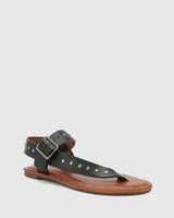 Flint Black Leather Stud Flat Sandal.