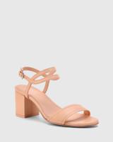 Neoma Pastel Peach Leather Open Toe Block Heel Sandal.