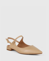 Manda Nude Leather Pointed Toe Flat.