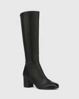 Louis Black Leather and Stretch Long Boot