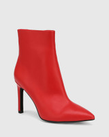 Havina Red Leather Pointed Toe Ankle Boot