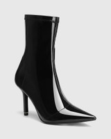 Qadira Black Stretch Patent Pointed Toe Ankle Boot