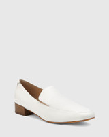 Chia White Leather Round Toe Loafer.