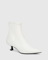 Gianella White Leather And Stretch Ankle Boot