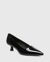 Gavina Black Patent Leather Kitten Heel Pump