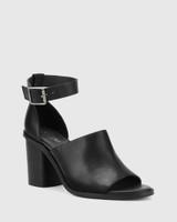 Fig Black Leather Block Heel Sandal.