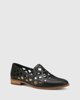 Heeva Black Nappa Leather Almond Toe Flat.