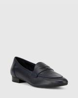 Austin Navy Leather Almond Toe Flat Penny Loafer.