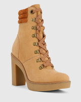 Vickie Caramel Leather Block Heel Lace Up Ankle Boot.