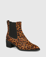Jenae Leopard Print Leather Elastic Gusset Ankle Boot