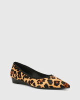 Almara Leopard Print Pony Hair Leather Pointed Toe Wedge Flat.