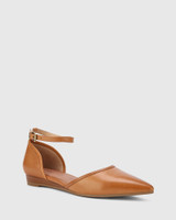 Ariel Coconut Leather Low Wedge Flat.