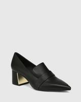 Orla Black Leather Metal Block Heel Loafer