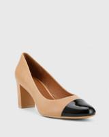 Nadori Black Patent and Honey Leather Round Toe Block Heel.