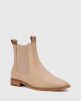Aleksander Sesame Leather Elastic Gusset Ankle Boot.
