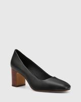 Gale Black Leather Square Toe Block Heel.