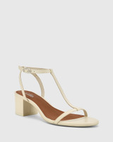 Inara Buttercream Leather Open Toe Block Heel Sandal.