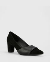Deonna Black Leather And Suede Block Heel Pump