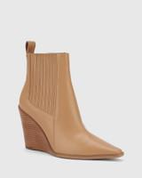 Hadriana Desert Beige Leather Wedge Heel Ankle Boot.