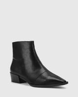 Cade Black Matte Mini Snake Print Leather Snib Toe Ankle Boot.