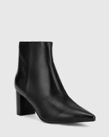 Deja Black Leather Block Heel Point Toe Ankle Boot.