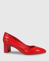 Monte Red Patent Round Toe Block Heel.