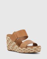 Velina Tan Leather Slip On Wedge Sandal.