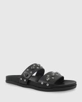 Kit Black Leather Black Diamonte Flat Slide.