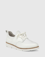 Jig White Leather and Stretch Mesh Knit Sneaker