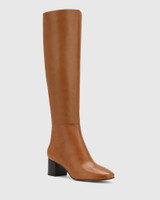Aniya Tan Leather Round Toe Long Boot