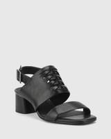 Devanti Black Leather Plaited Front Blocked Heel Sandal.
